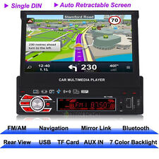 """7"""" Single 1DIN Car MP3 Player GPS Navigation Bluetooth HD Touch Radio Europe Map"""