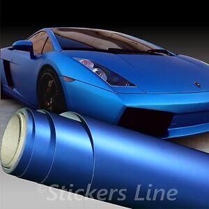 Película Adhesiva Azul Mate CM 50x150 Cromo Metal Car Wrapping Coche Moto