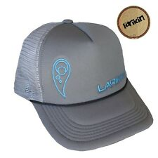 "LARIKIN ""Brian Cadd"" Mens Australian Trucker Hat Cap Silver Grey & Neon Blue NEW"
