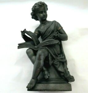 1860.ANSONIA STUDENT GREEK REVIVAL ANTIQUE SPELTER MANTLE CLOCK TOPPER 3.1 LBS