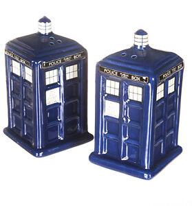 Doctor Who Tardis Céramique Salt & Pepper Shakers Tout Neuf BBC Officiel
