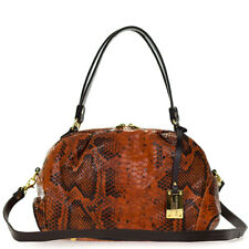 Giordano Italian Made Orange & Brown Python Embossed Leather Handbag Purse