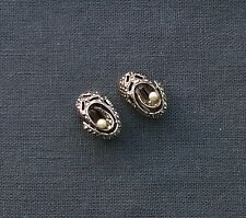 VINTAGE 925 STERLING SILVER BALLET SHOES MARCASITE PEARLS CLIP ON EARRINGS