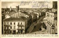 uralte AK, Lublin, Krakauer Vorstadt aus der Vogelschau Krakowskie Przedmiescie