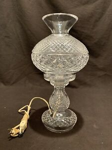 Waterford Crystal Vintage Inishmaan Electric Hurricane Lamp Shade As Is