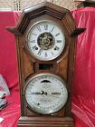 Eight Day Striking Ithaca Walnut Calendar Double Dial Clock By E.N. Welch--1866