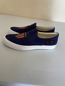 Polo Ralph Lauren Men's Thompson lll Navy Canvas Slip On Sneaker Size 9.5D