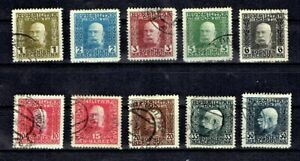 1912-14 BOSNIA HERZEGOVINIA Emp. Franz Josef  P/Set of 10 Sc#65- Used*