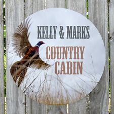 Wild Pheasant Cabin Country Personalized Round Metal Sign