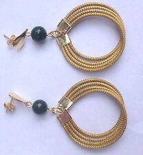 ORECCHINI-EARRINGS-OHRRINGE di Capim Dourado con pietra malachite-malachit B33