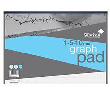 Carta MILLIMETRATA Pad 90gsm 1 mm 5 mm 10 mm Grid 50 FOGLI A3 Silvine Nuovo di zecca da