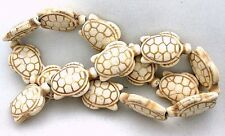 "1 x 3/4 Inch Carved Turtle Magnesite Buffalo Turquoise Gemstone Bead 15"" Strand"