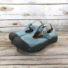 KEEN Clogs Womens Size 5 Mary Jane Leather Buckle Comfort Floral Slip On Blue