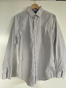 Blaq Tailor Fit Black And White Print Dress Shirt Size 39