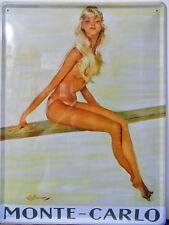 PLAQUE METAL PUBLICITAIRE vintage PIN UP MONTE CARLO - 40 X 30 CM