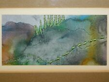 SMALL ABSTRACT LANDSCAPE IN FINE NEEDLEWORK & MARBLED & PAINTED SILK, FRAMED
