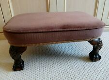 Small Antique Style Footstool Pouffe - Ornately Carved Feet Covered Brown Velvet