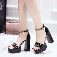 Women's Block High Heels Platform Sandals Buckle Belt Peep Toe Shoes Fashion Sz
