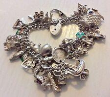 Good Vintage Very Heavy Solid Silver Charm Bracelet - Around 105 grams