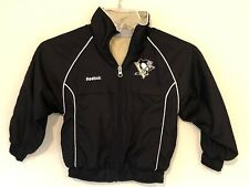 Reebok NHL Pittsburgh Penguins Youth Zip Up Nylon Jacket Black Sz 4 Small