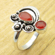 Sparkling Carnelian INEXPENSIVE Ring Size T ½ ! Silver Plated Jewelry BRAND NEW