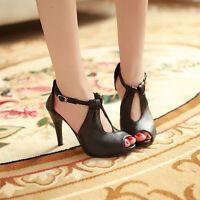 Ladies Womens Party Sandal Stilettos High Heels Peep Toe Ankle Strappy Shoes SZ