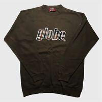 Mens Vintage Globe Sweatshirt Medium/Large Embroidery Spellout