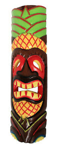 TIKI Mask Wooden Wall Plaque 50cm Hand Carved Painted  MAORI STYLE PINEAPPLE new