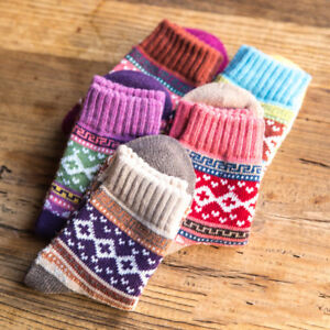 1/5 Pairs Women Wool Cashmere Warm Soft Thick Casual Multicolor Winter Socks Hot