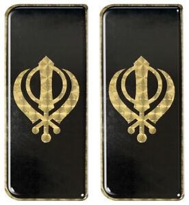 2x Khanda Gold Engine Turn Gel Domed Number Plate Badges 110x45mm