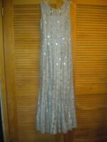 ALEX EVENINGS Gray Silver Sequin Lace Long Gown Dress Sleeveless Size 8 #7980