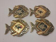 Vintage 1960's Small Metal Embossed Fish Ashtrays Set of 4 Stackable