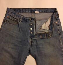Men's Jeans>>Levi's 501>>W34XL30 (my measure 32X29)>>Button Front>>100% Cotton