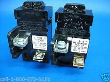 2- 15A 15 Amp & 20A 20 Amp Pushmatic P115 P120 Single 1 Pole Breaker
