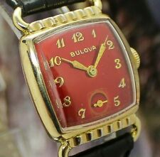 🔥Vintage mens 1951 Bulova Director DEVIL LUGS Clean BRIGHT RED Deco Tank Watch