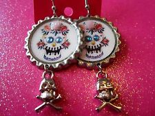 Day Of The Dead Sugar Skull With Cross Bone Skull Dangle Charm Earrings #21