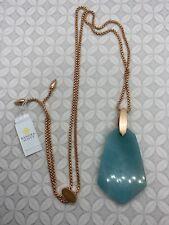 Kendra Scott Cam Rose Gold Teal Quartzite Pendant Necklace -