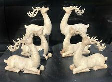 Carved Birch Reindeer Deer Figurines Holiday Christmas Figurines Collectible Set