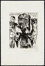 EXLIBRIS acquaforte di Lovis Corinth (Berlino) 1919