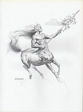 "1982 Vintage BORIS VALLEJO ""CENTAUR WARRIOR"" WOW! Art Plate Drawing Lithograph"