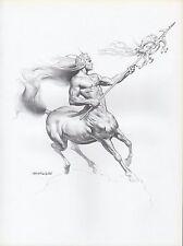 "1982 Vintage BORIS VALLEJO ""CENTAUR WARRIOR"" WOW! Art Plate Drawing Lithograph"