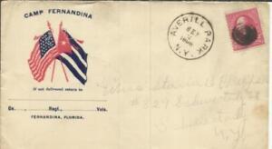 US -SPANISH AMERICAN WAR PATRIOTIC-CAMP FERNANDINA FLORIDA-CROSSED