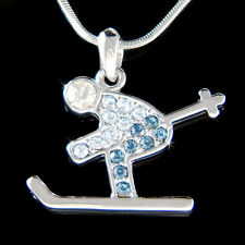 w Swarovski Crystal Alps Alpine Skiing Skis Skate ~Blue Skier~~ Pendant Necklace