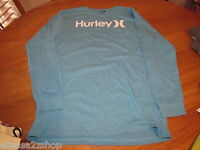 Boy's Youth Hurley L T shirt L/S surf skate blue heather logo TEE NEW