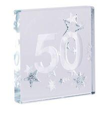 Spaceform Miniature Glass Token 50th Birthday Glitter Stars Adult Gift Box 1610