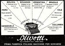 PUBBLICITA'1927 OLIVETTI MACCHINE DA SCRIVERE IVREA ARGENTINA BRASILE PERU' CILE