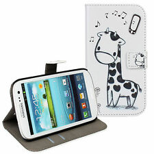 Black/White Giraffe Design Wallet Card Case Cover Stand For Samsung Galaxy S3