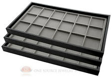 (3) Black Plastic Stackable Trays w/18 Compartment Gray Jewelry Display Inserts