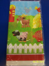 RARE On the Farm Animal Barnyard Birthday Party Decoration Plastic Tablecover