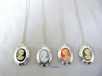 """SILVER PLATED CAMEO LOCKET PENDANT NECKLACE 16"""" OR 18"""" CHAIN FOR CHILD OR ADULT"""